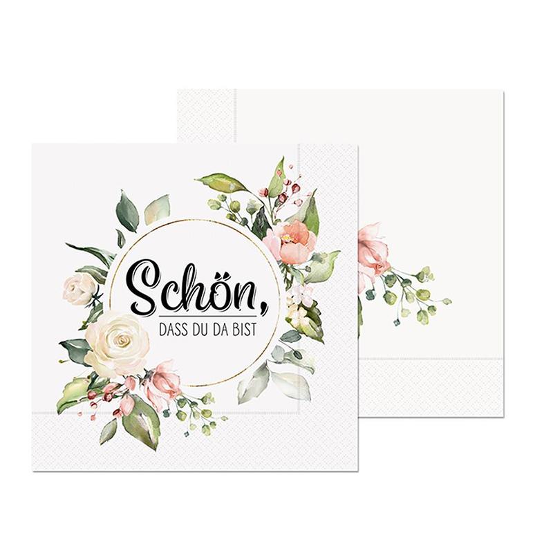 130661-Serviette-20st-33x33-schoen-dass-du-da-bist