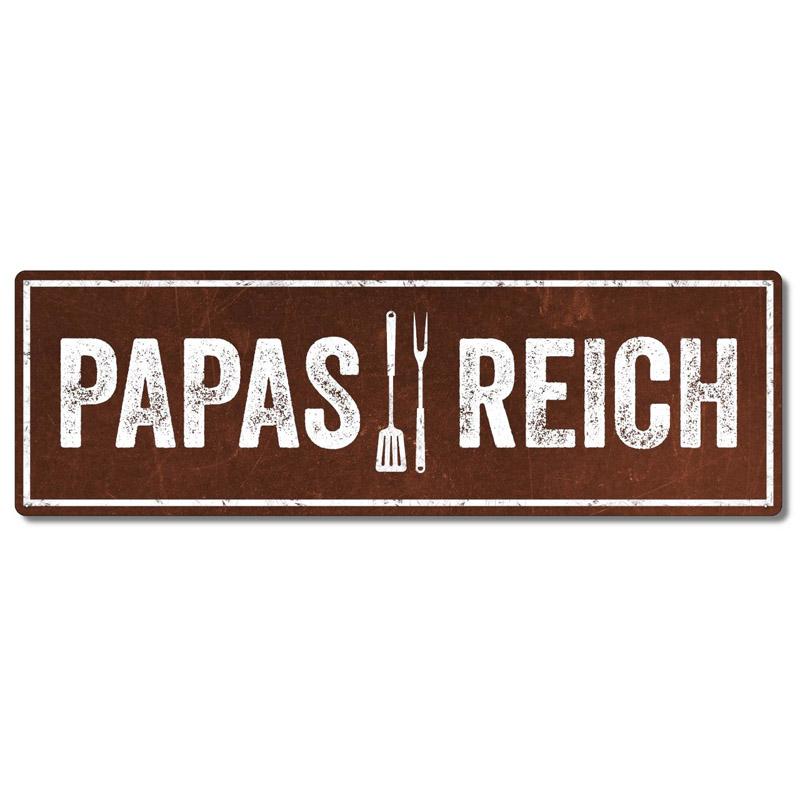 interluxe-metallschild-papas-reich-schild-in-extra-schwerer-qualitaet-wetterfest-und-made-in-germany-als-deko-fuer-den-grill